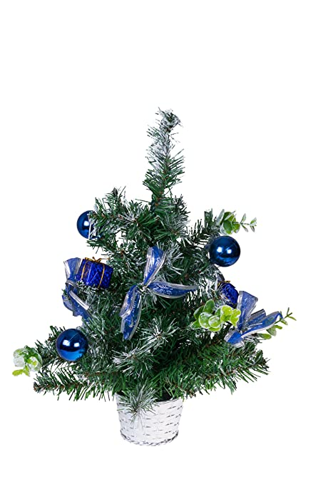 table top christmas tree with ornaments green and blue christmas decor theme shatter resistant ornaments - Blue Christmas Tree Ornaments