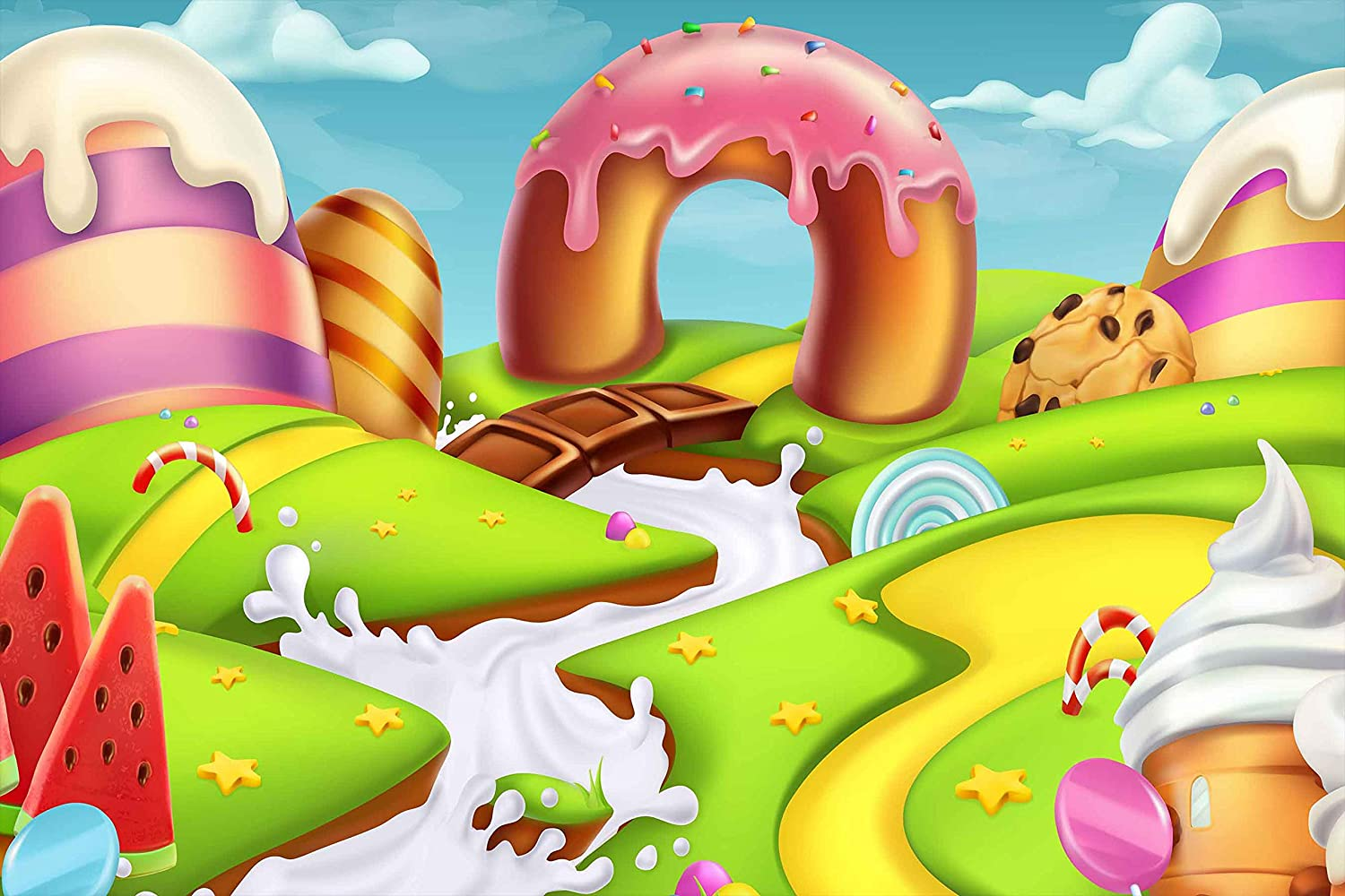 Cartoon Candyland Backdrops for Photography 9x6FT Fairy Tale Ice-Cream Chocolate Backgrounds Birthday Party Decoration Banner Photo Studio Props Kid Baby Girl LUCKSTY LUP351