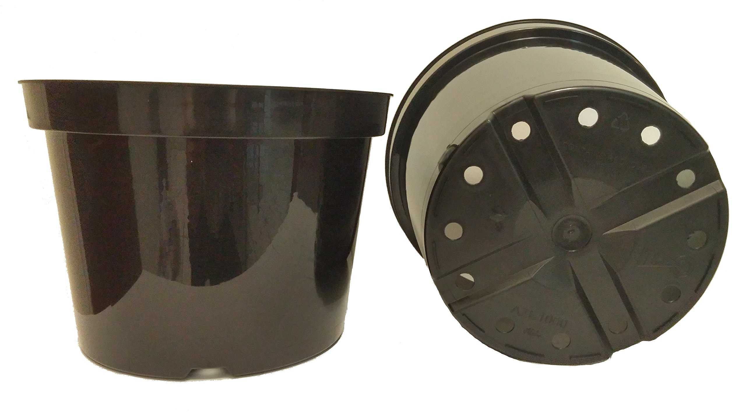 12 NEW 10 Inch Azalea Plastic Nursery Pots ~ Pots are 10 Inch Round At the Top and 7.3 Inch Deep. Color Black