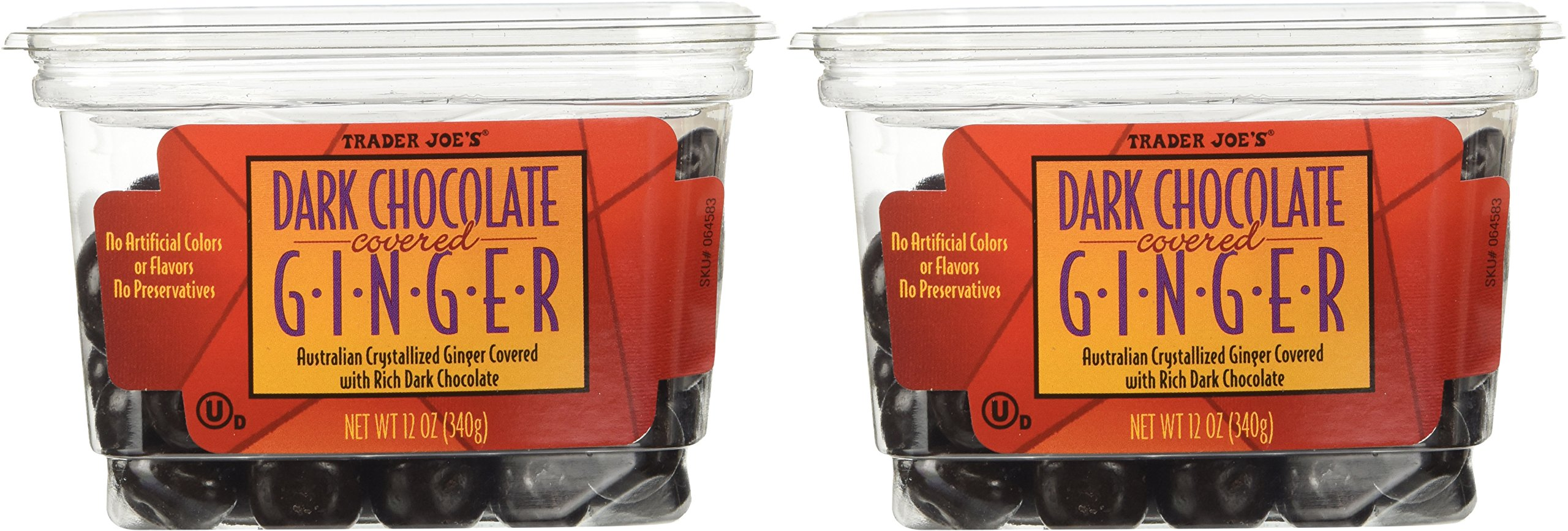 Trader Joe's Dark Chocolate Covered Ginger - 2 Pack