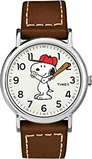 Timex Weekender Analog Quartz Leather Strap, Brown, 20 Casual Watch (Model: TW2T61000)