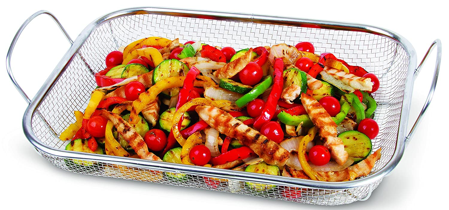 "Corona Wire Mesh Basket - Large 14"" x 10.5"" Grill Basket For BBQ Stir Fry Seafood And More"