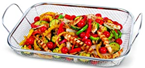 """Corona Wire Mesh Basket - Large 14"""" x 10.5"""" Grill Basket For BBQ Stir Fry Seafood And More"""