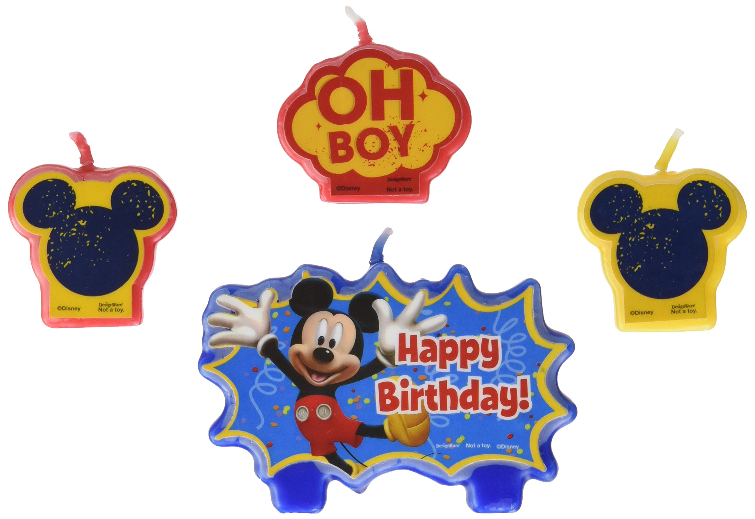Amscan Party Time Disney Mickey Mouse Mini Character Birthday Candle Set, Pack of 4, Multi Wax Childrens-Cake-Decorations, Multicolor /Wax, 1.25''