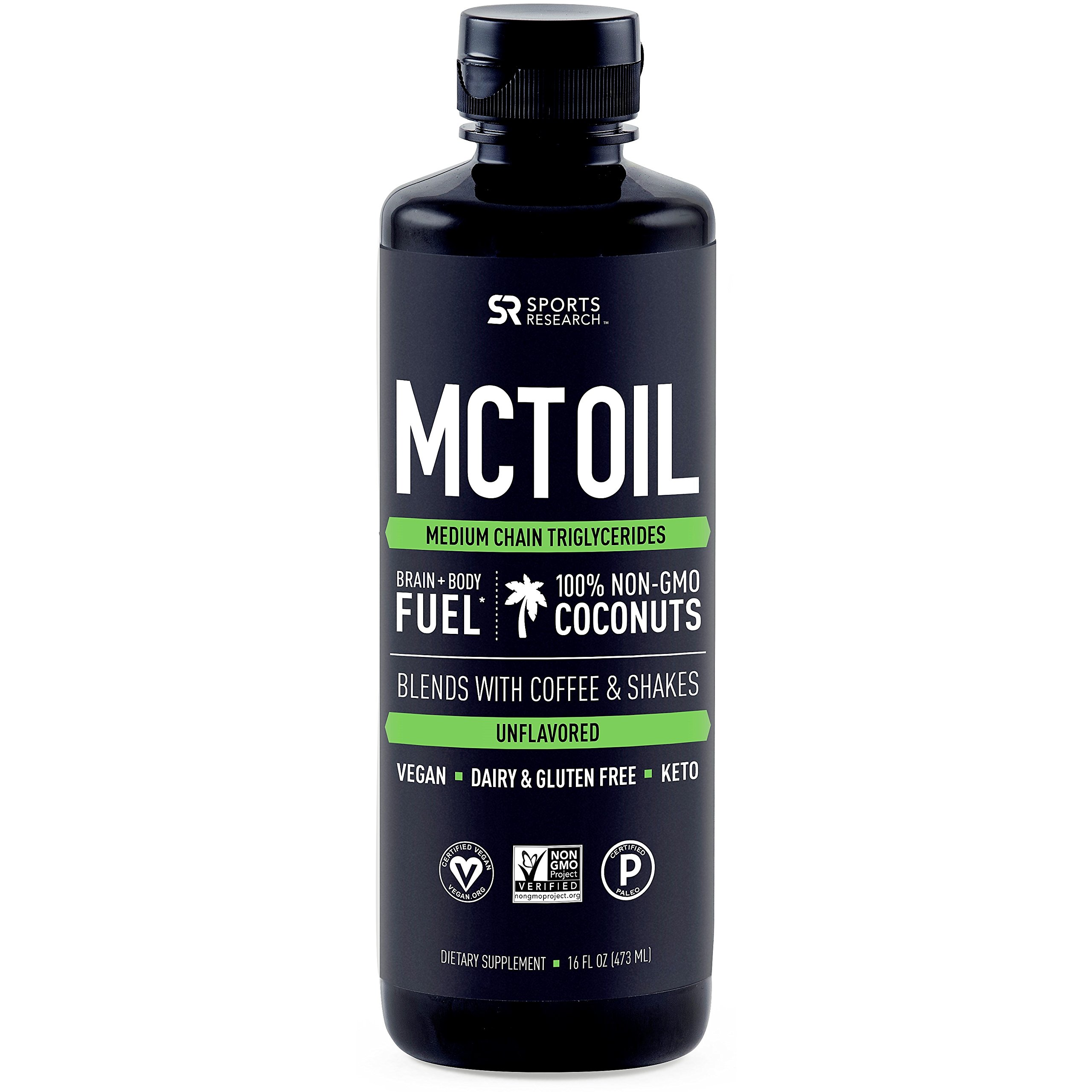 Premium MCT Oil derived only from Coconut Oil - 16oz BPA Free Bottle | Ketogenic and Paleo Diet Approved ~ Non-GMO Project Verified
