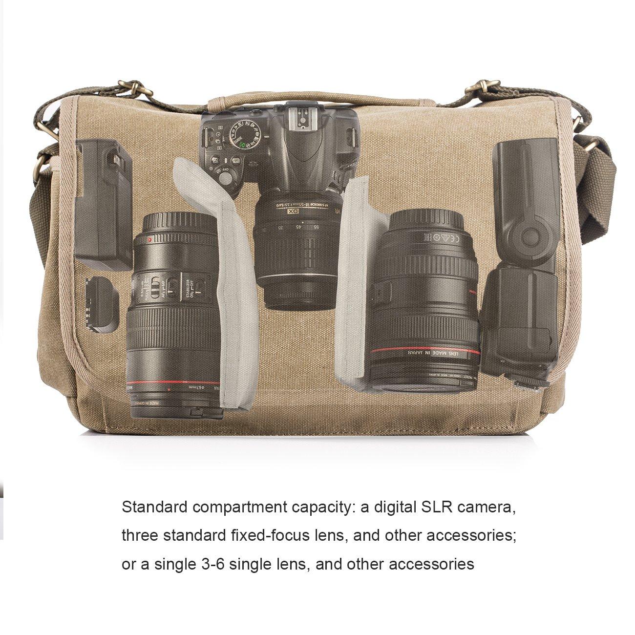 TARION RS-01 Bolsa de la Cámara de Lona Bolso de Hombro Impermeable de Fotografía para SLR Digital, Micro-SLR Clásico Retro, Excelente Calidad, color caqui: ...