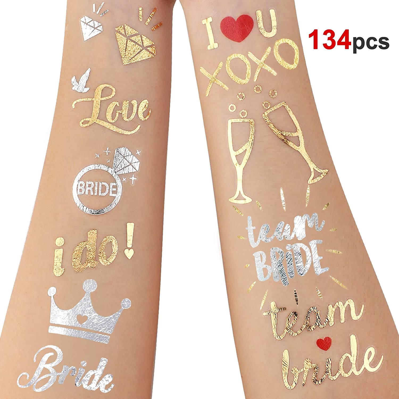 HOWAF 134PCS Novia y la Novia de Equipo Tatuajes Temporales Despedida de Soltera Tatuajes Impermeable Falso Pegatinas para Decoración de Boda Fiesta de Noche Despedida de Soltera Accesorios