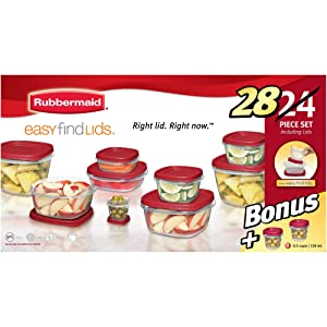 Rubbermaid Easy Find Lids Food Storage Container, 28-Piece Bonus Set, Red