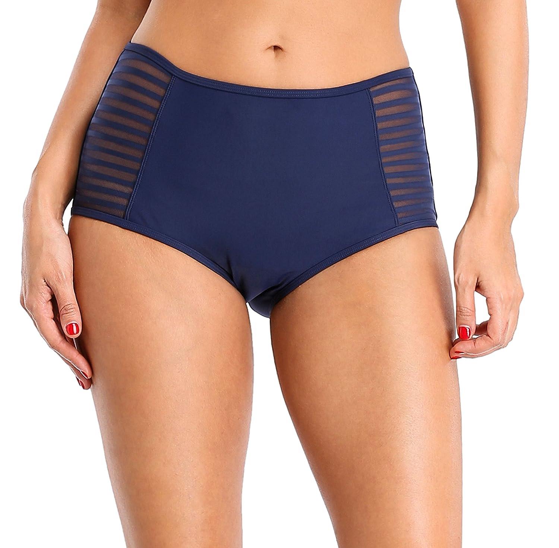 Attraco Women's High Waist Swimsuit Shorts Ruched Bikini Bottoms Retro Swimwear