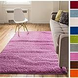 Solid Retro Modern Pink Shag 3x5 ( 3'3'' x 5'3'' ) Area Rug Plain Plush Easy Care Thick Soft Plush Living Room Kids Bedroom