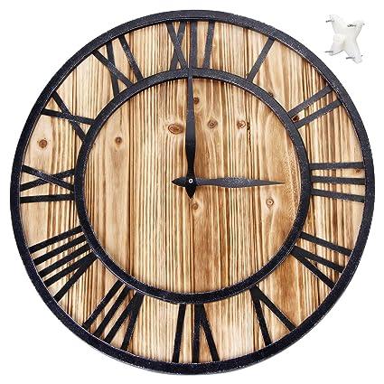SEJU - Reloj de Pared de Madera silencioso para Sala de Estar, Cocina, Dormitorio