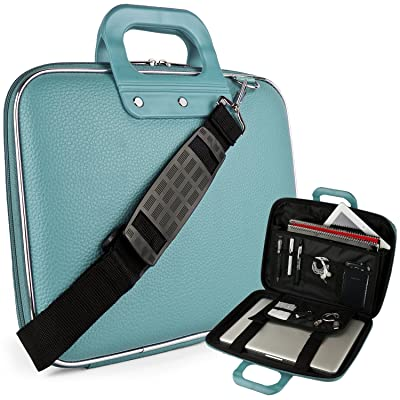 "Vegan Leather Ann Cube Carrying Blue Shoulder Bag w/ Handles For 13.3"" to 14"" Tablets, 2in1, Ultrabooks Netbooks"