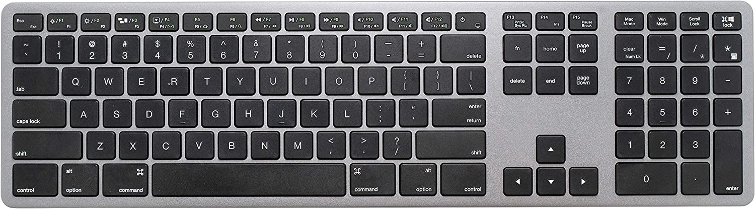 LEXKING Aluminum Metal X-Board Ultra-Slim USB Wired Comupter Keyboard for Mac and Windows OS, with Numeric Keypad, for Apple Mac Pro, MacBook Pro, iMac, Laptop of Windows PC, Designed Space-Gray Color