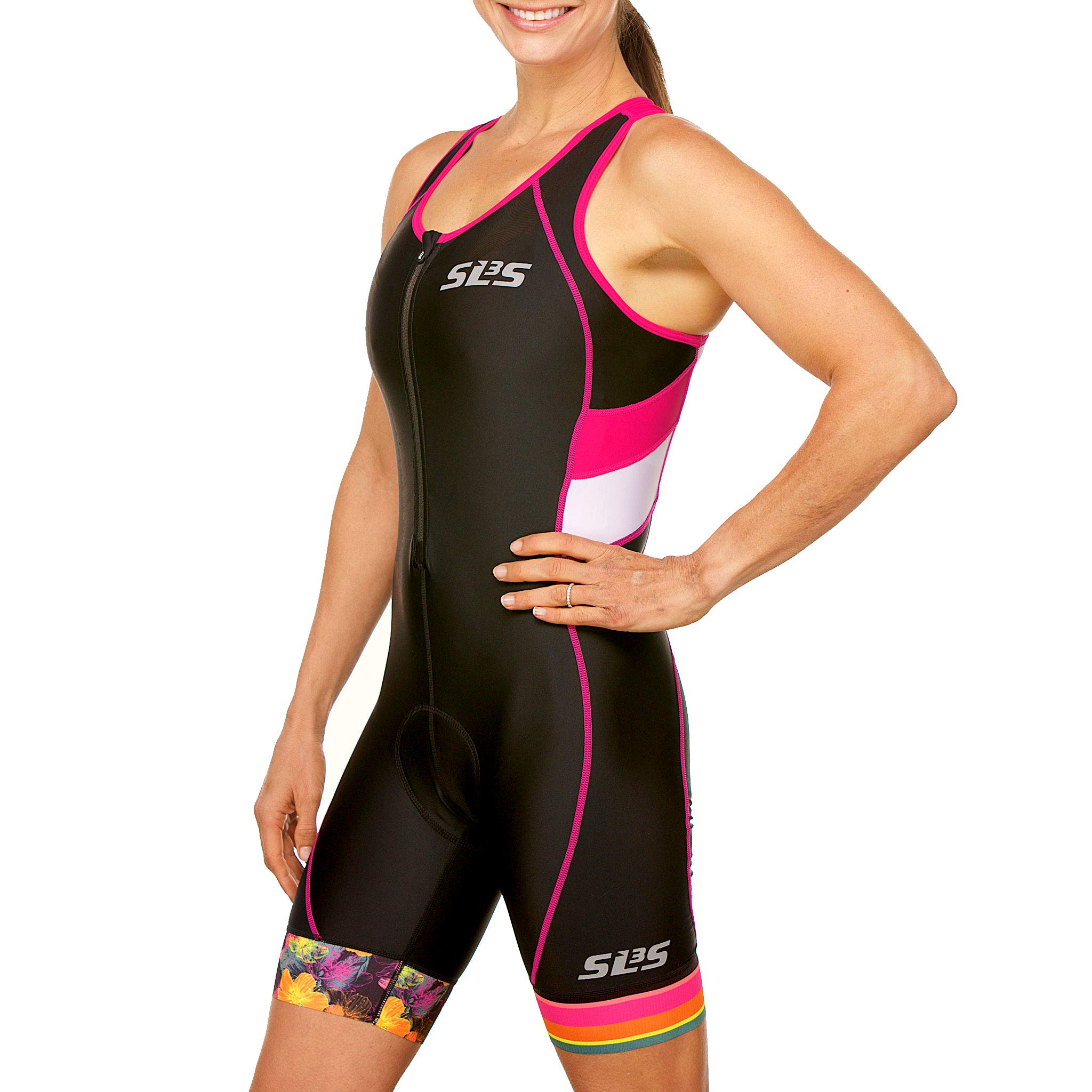 SLS3 Women`s Triathlon Suit FX | Womens Trisuits | 1 Pocket Triathlon Gear Suits Women | Anti-Friction Seams Womens Tri Suit | German Designed (Black/Bright Rose, M) by SLS3 (Image #3)