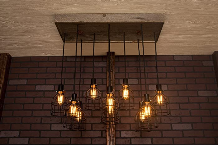 reclaimed industrial lighting. Industrial Lighting, Chandelier, Black With Reclaimed Wood And 10 Pendants. R- Lighting
