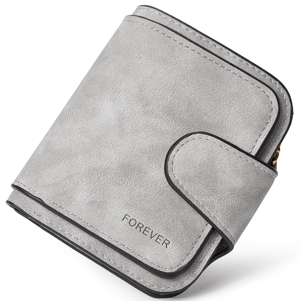 RFID Blocking Mattee Leather Wallet for Women Clutch Purse Bifold Small Compact Designer Ladies Multi Credit Card Holder Organizer with Coin Zipper Pocket gray
