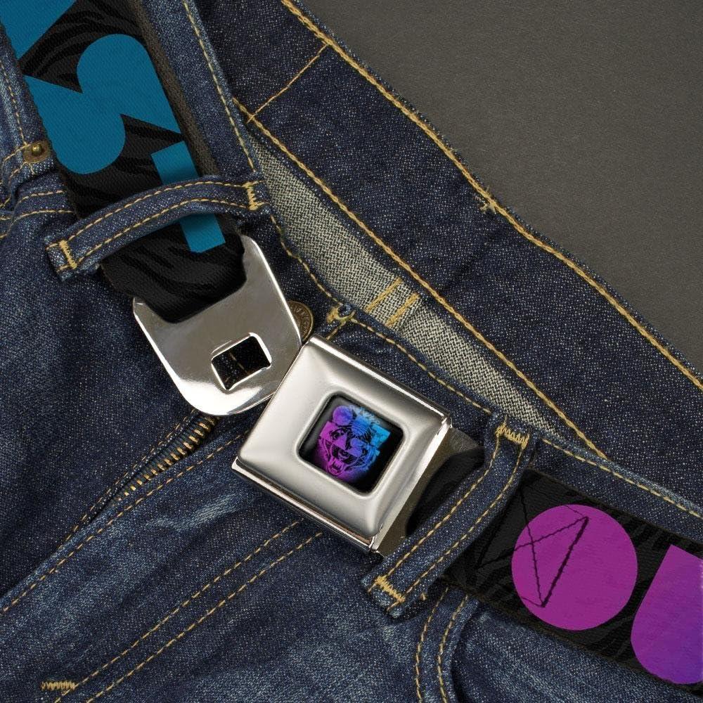 Outkast//Tiger Stripes Gray//Black//Purple//Blues Fade Buckle-Down Mens Seatbelt Belt Kids 1.0 Wide-20-36 Inches