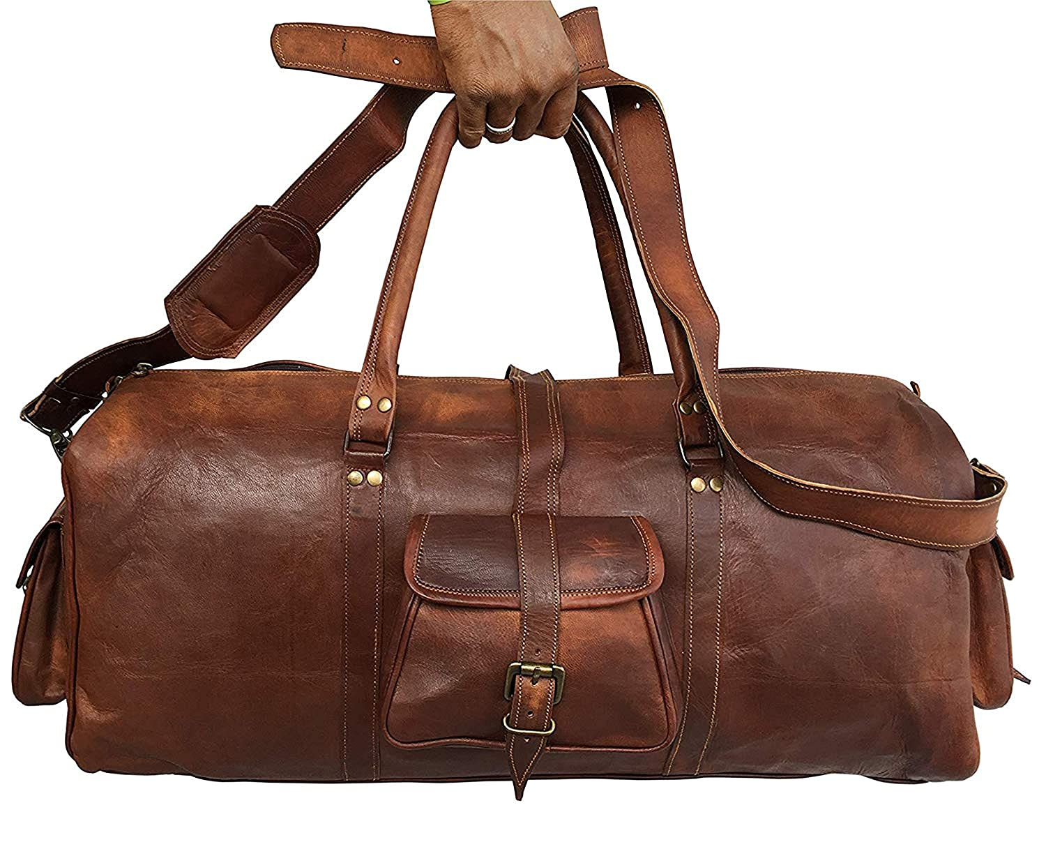 24 Inch leather duffel bag for men and women
