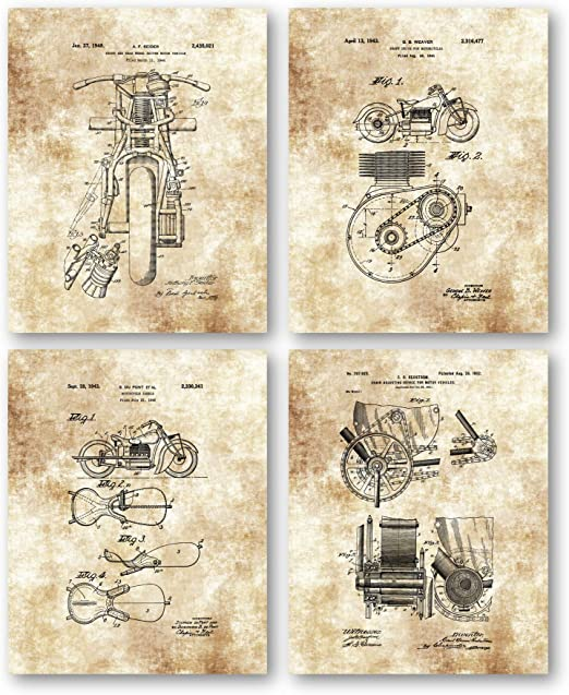 Set of Four Photos 8x10 Original Indian Motorcycle Patent Art Prints