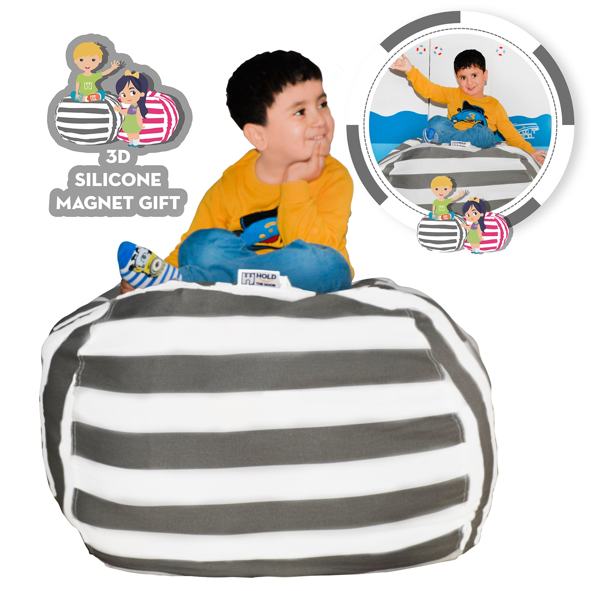 Hold The Door Extra Large Stuffed Animal Storage Bean Bag Chair - Toy Organizer & Comfy Chair - Perfect Storage Solution for Plush Toys, Blankets, Towels & Clothes - (Grey Striped, 38'') by Hold The Door (Image #1)