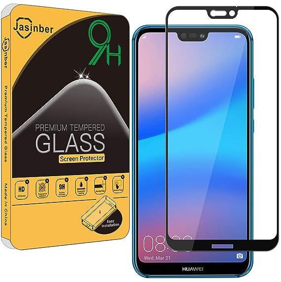 4c76277bff1 Jasinber Mica Vidrio Cristal Templado Protector de Pantalla para Huawei P20  Lite (Negro)