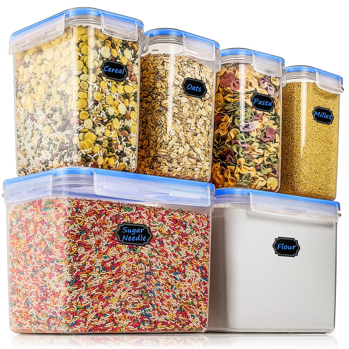 Airtight Food Storage Containers   Wildone Cereal Dry Food Storage Container  Set Of 6, Leak Proof BPA Free, With 1 Measuring Cup 20 Chalkboard Labels 1  ...