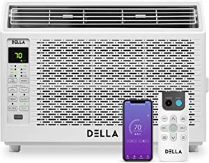 Della 6000 BTU Energy Star Window Air Conditioner 115V/60Hz Whisper Quiet AC For Rooms up to 250 sq ft, Cooling, Dehumidifier, Fan With Smart Control, Alexa, Remote