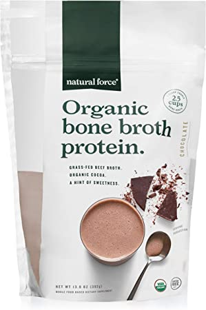 Natural Force Organic Bone Broth Protein Powder – Grass Fed & Keto Certified – Rich Chocolate Flavor, Great for Smoothies & Shakes – 12.6 Grams Types I, II, & III Collagen Per Serving – 13.8 Ounce