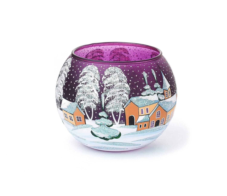AROMA HOME STUDIO ART PAINTING - Portacandela Antivento Natalizio Yankee Candle Tealights Sweet Apple, Design Invernale Take a Rest, H-8-8,5 cm, ø -10 cm ø -10 cm