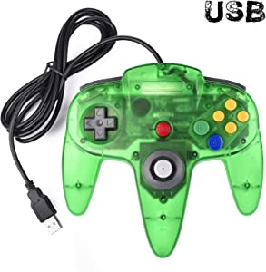 Classic N64 Controller, iNNEXT N64 Wired USB PC Game pad Joystick, N64 Bit USB Wired Game Stick Joy pad Controller for Windows PC MAC Linux Raspberry Pi 3 Sega Genesis Higan (Jungle Green)