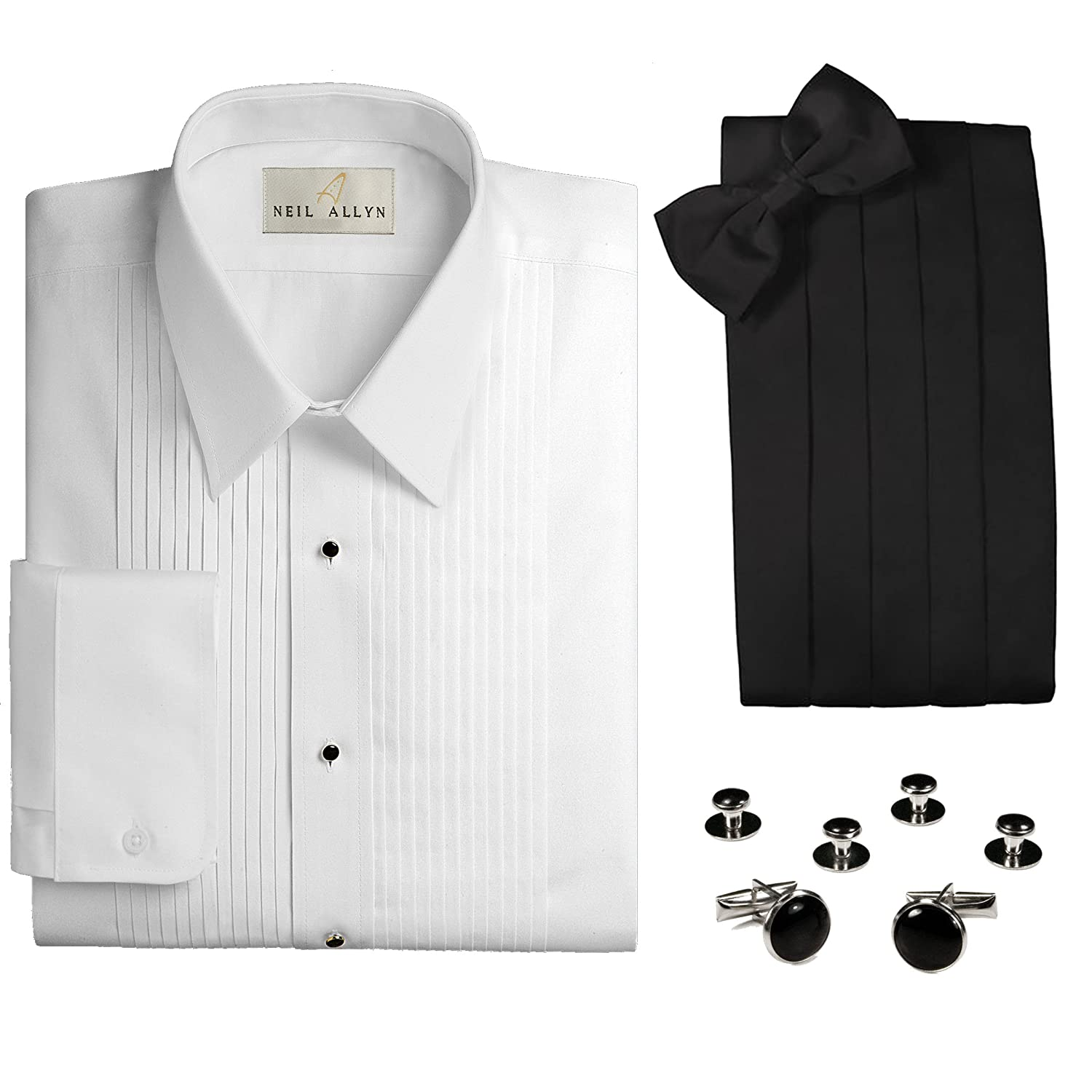 Slim Fit Laydown Collar Tuxedo Shirt, Cummerbund, Bow Tie, Cufflinks & Studs