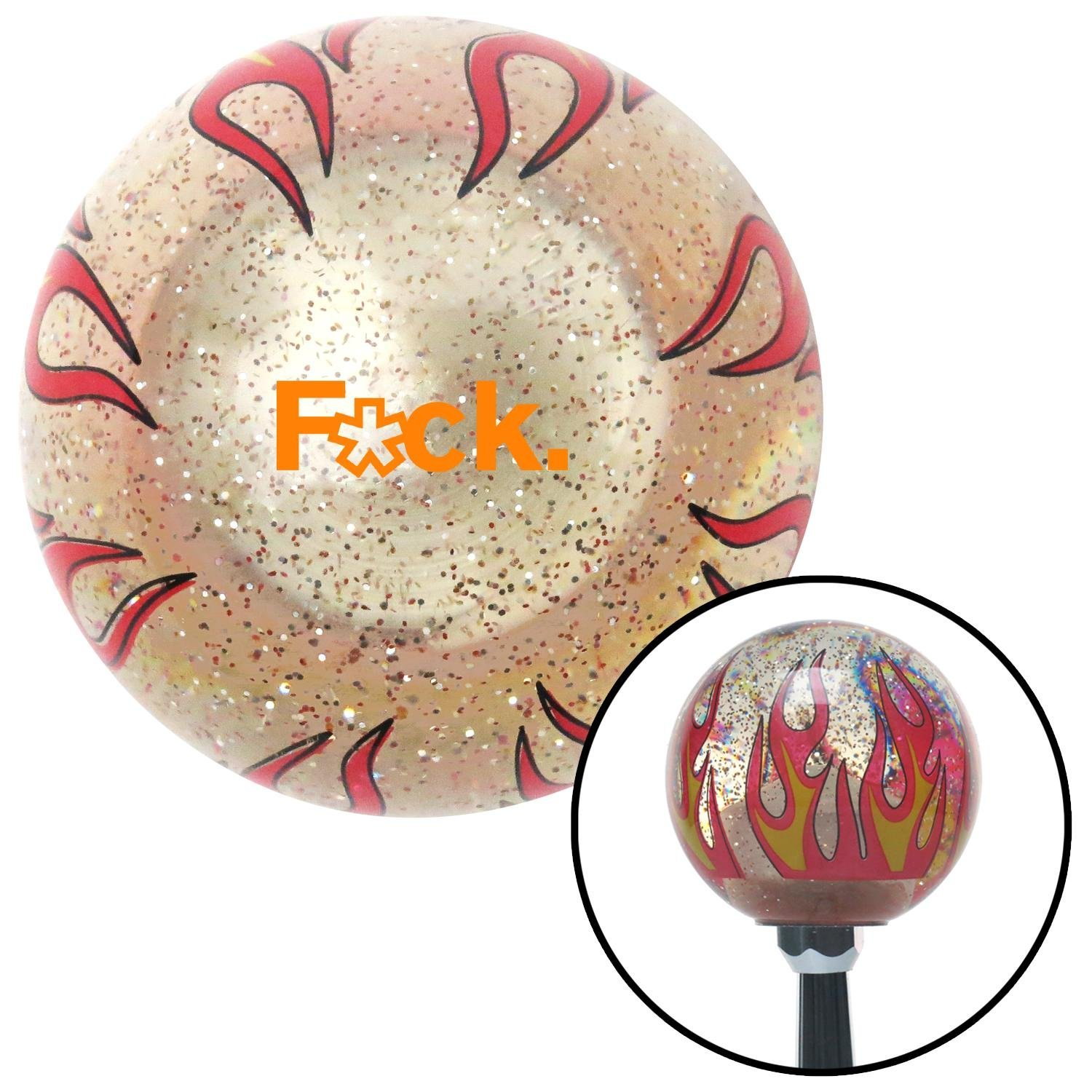 Orange FCK Clear Flame Metal Flake with M16 x 1.5 Insert American Shifter 296216 Shift Knob