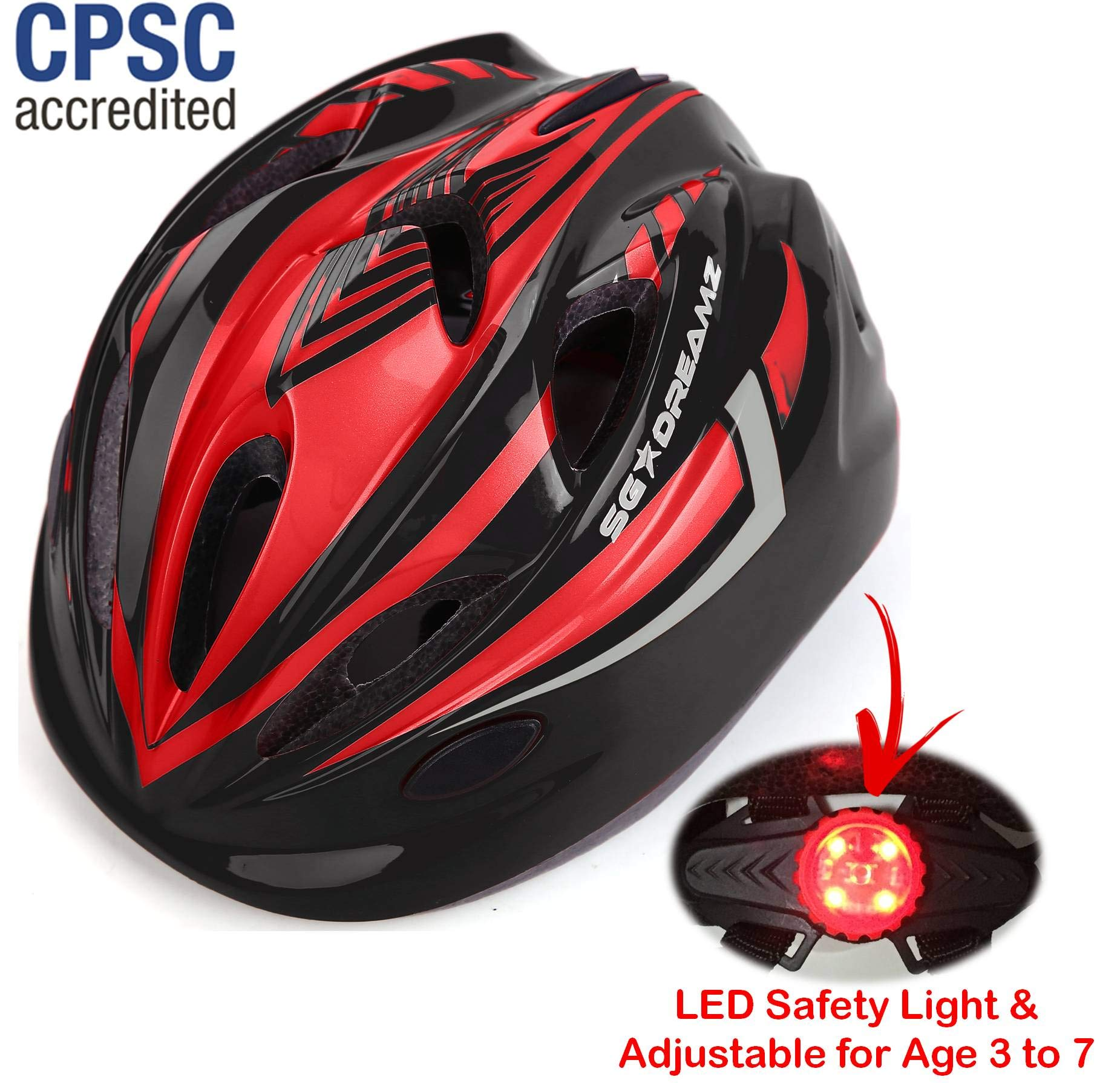 Kids Bike Helmet – Adjustable from Toddler to Youth Size, Ages 3 To 7 - Durable Kid Bicycle Helmets with Fun Racing Design Boys and Girls will LOVE - CSPC Certified for Safety (Black Red With Light)