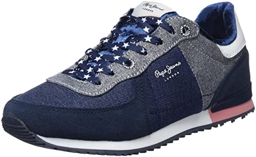 fcb5bf56ded9 Pepe Jeans London Girls  Sydney Denim Lame Low-Top Sneakers