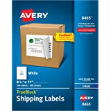 "Avery Shipping Labels with TrueBlock Technology for Inkjet Printers 0, 8-1/2"" x 11"", Box of 100 (8465)"