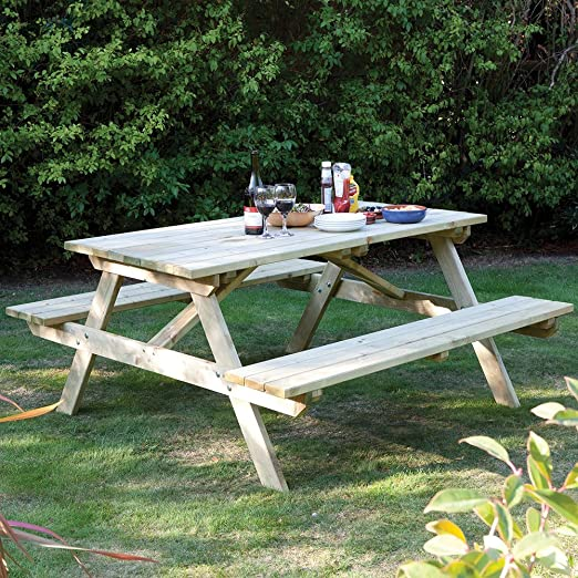 Rowlinson Ft Seater Pressure Treated Wood Picnic Bench Amazonco - One sided picnic table