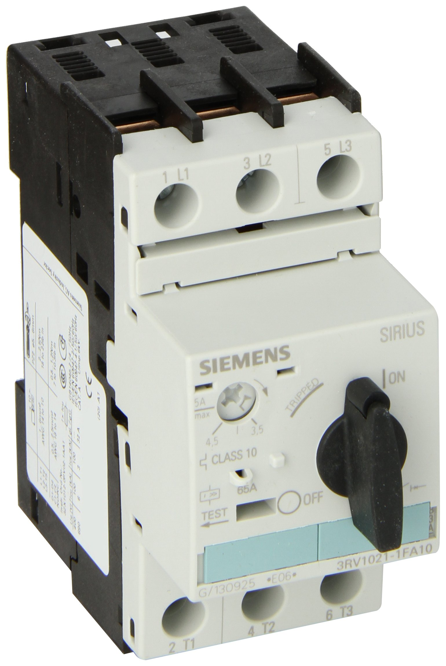Siemens 3RV1021-1FA10 Manual Starter and Enclosure, Open Type, 3.5-5 FLA Adjustment Range