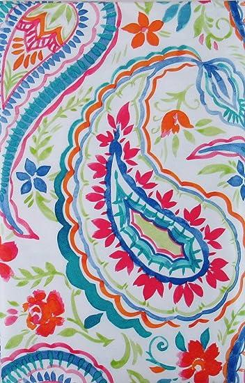 Summertime Watercolor Floral Paisley Vinyl Flannel Back Tablecloth  (52u0026quot; X 70u0026quot; ...