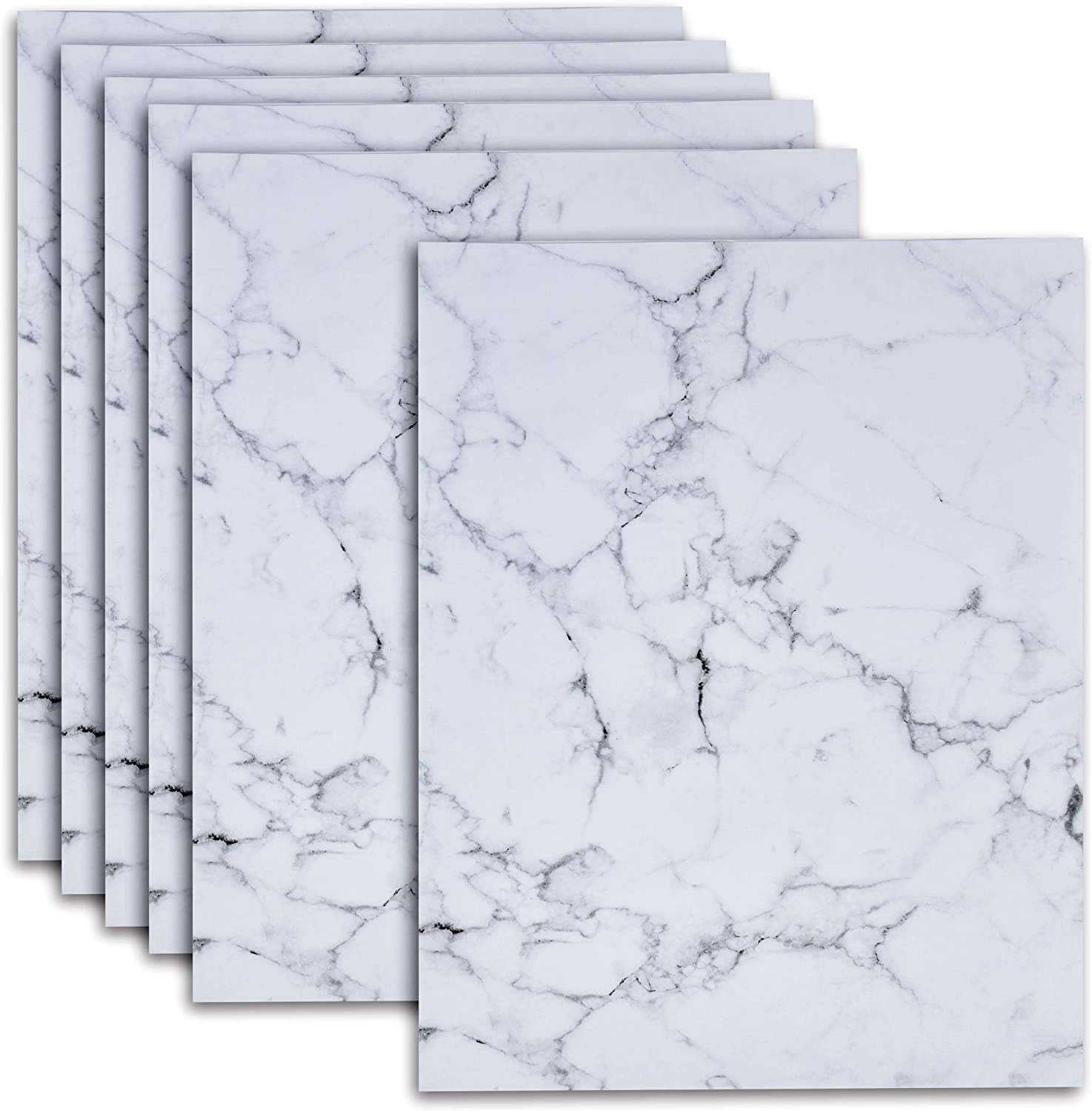 Marble Stationery Paper 120 Pack Elegant Grey Marbled Sheets 8.5