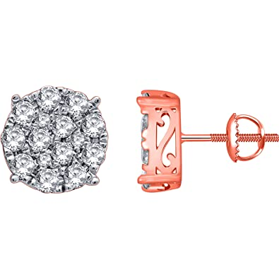 f21366a81a 2.00 Carat (ctw) 14k Rose Gold Round Diamond Invisible Cluster Stud Earrings  with Screw