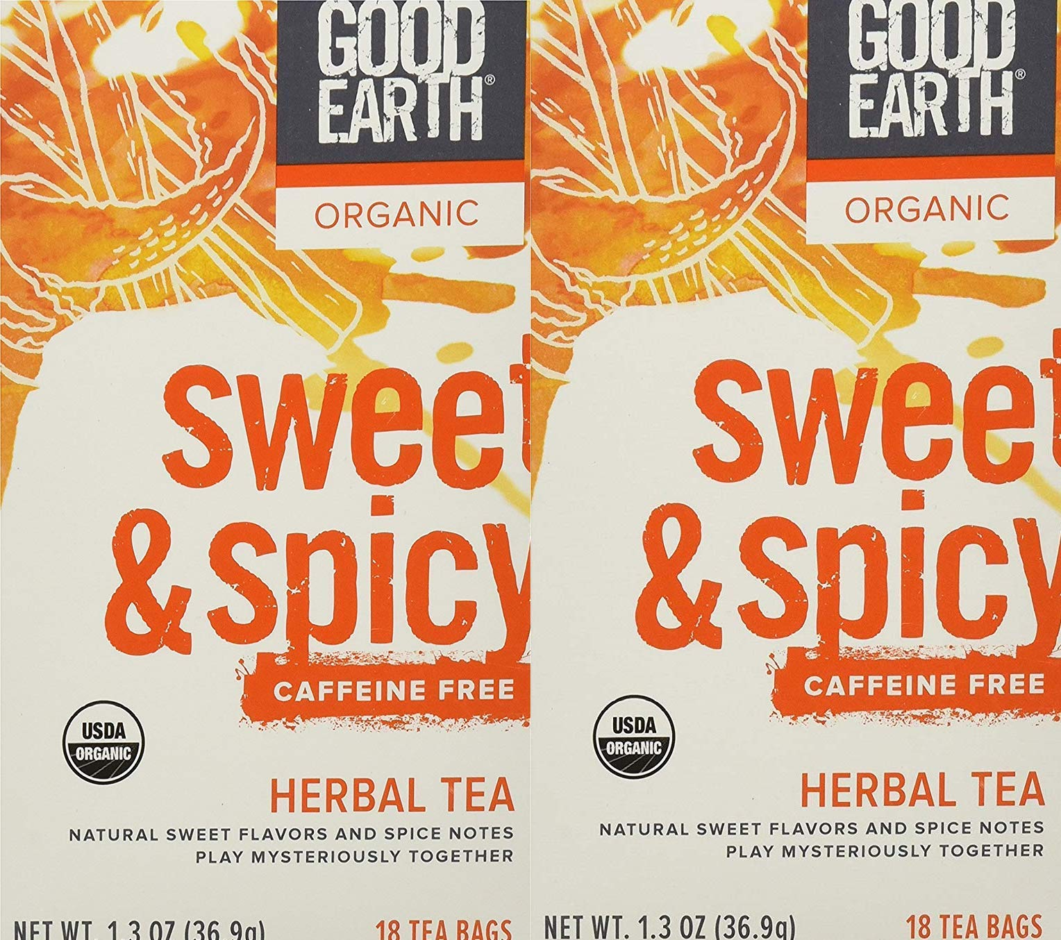 Good Earth Teas Organic Sweet and Spicy Herbal Caffeine Free Tea Bag, 18 Count (2-Pack)