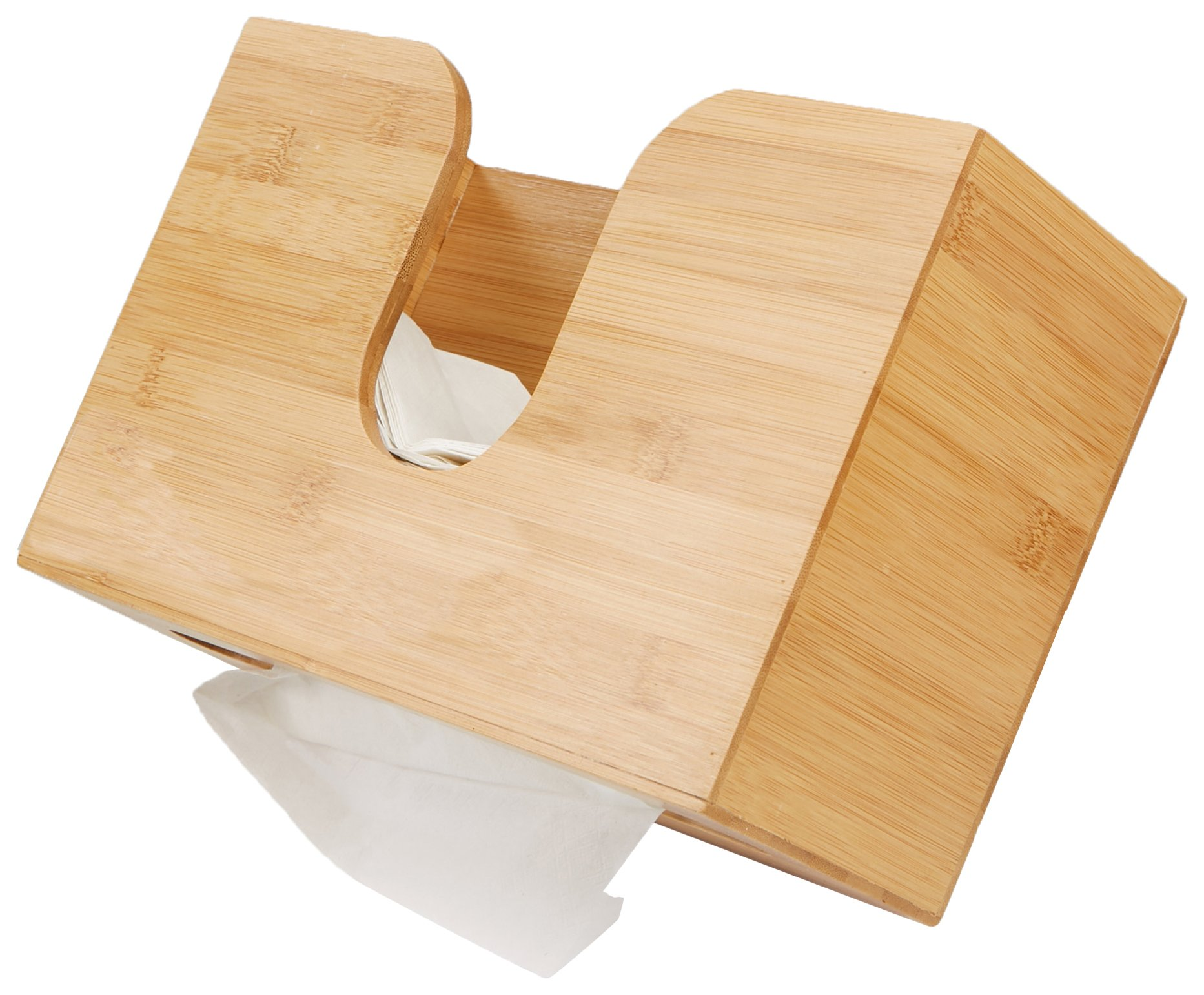 Mind Reader Bamboo Wall Mount Interfold Napkin Dispenser Organizer, Brown