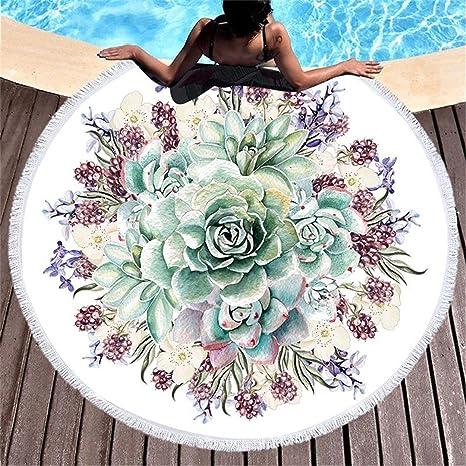 Amazon.com: Flores impresas Tapiz grande redondo con borla ...
