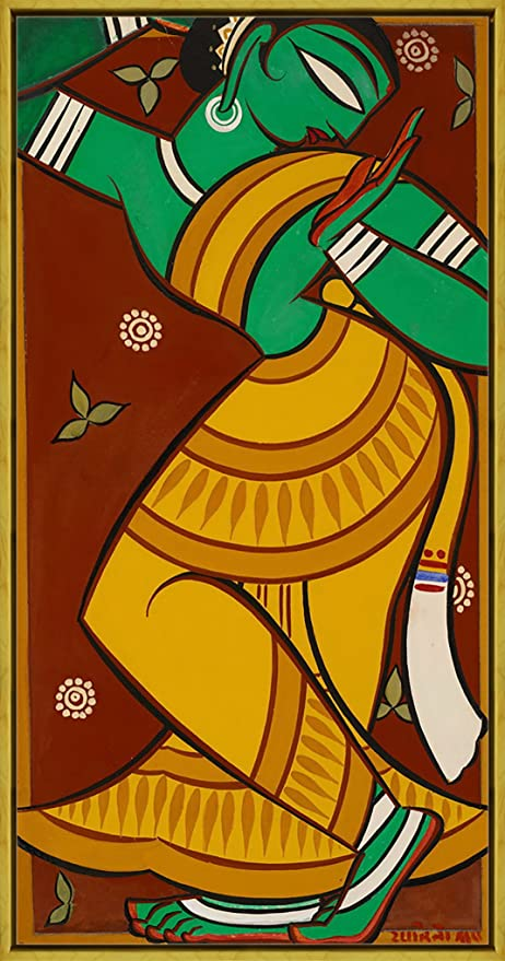Jamini Roy Painting of Dancing Gopi Giclee Canvas Print  Poster Reproduction