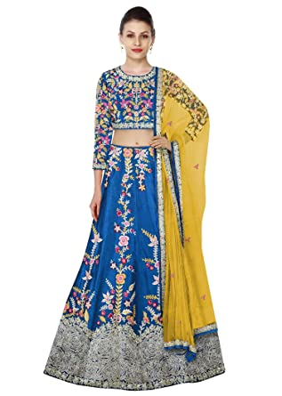 a1e173cbfa Rozy Fashion Yale Blue Raw Silk Resham Embroidered Semi Stitched Lehenga  Choli Material With Net Dupatta: Amazon.in: Clothing & Accessories