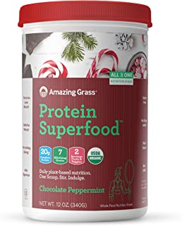 product image for Amazing Grass Protein Superfood: Vegan Protein Powder, All in One Nutrition Shake, Chocolate Peppermint, 10 Servings