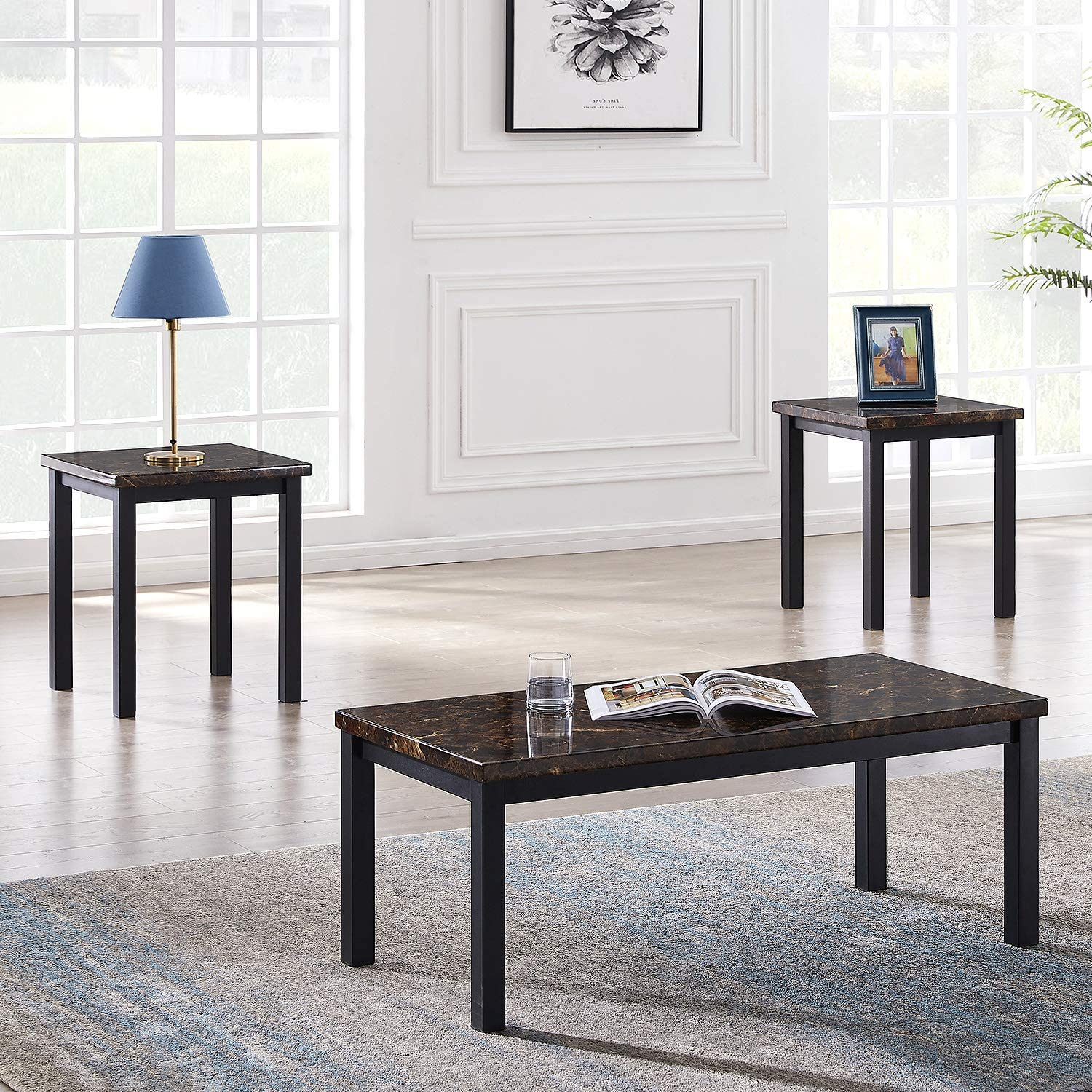 Amazon Com Recaceik 3 Pieces Faux Marble Tabletop Traditional Coffee Set With Black Metal Frame Sofa Side Tables Perfect For Living Room Accent Furniture Brown Furniture Decor