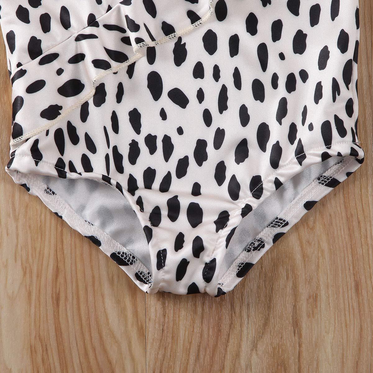 Seyurigaoka 1-6Y Toddler Kids Baby Girl Leopard Swimsuit Strap Sleeveless Ruffle Tankini Bikini Swimwear Bathing Suits