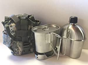 G.I. Style 1 qt. Stainless Steel Canteen with Cup and Vented Lid with New Stainless-Steel Stove Foldable, And Surplus G.I. Issue Cover (ACU MOLLE II), Kit.