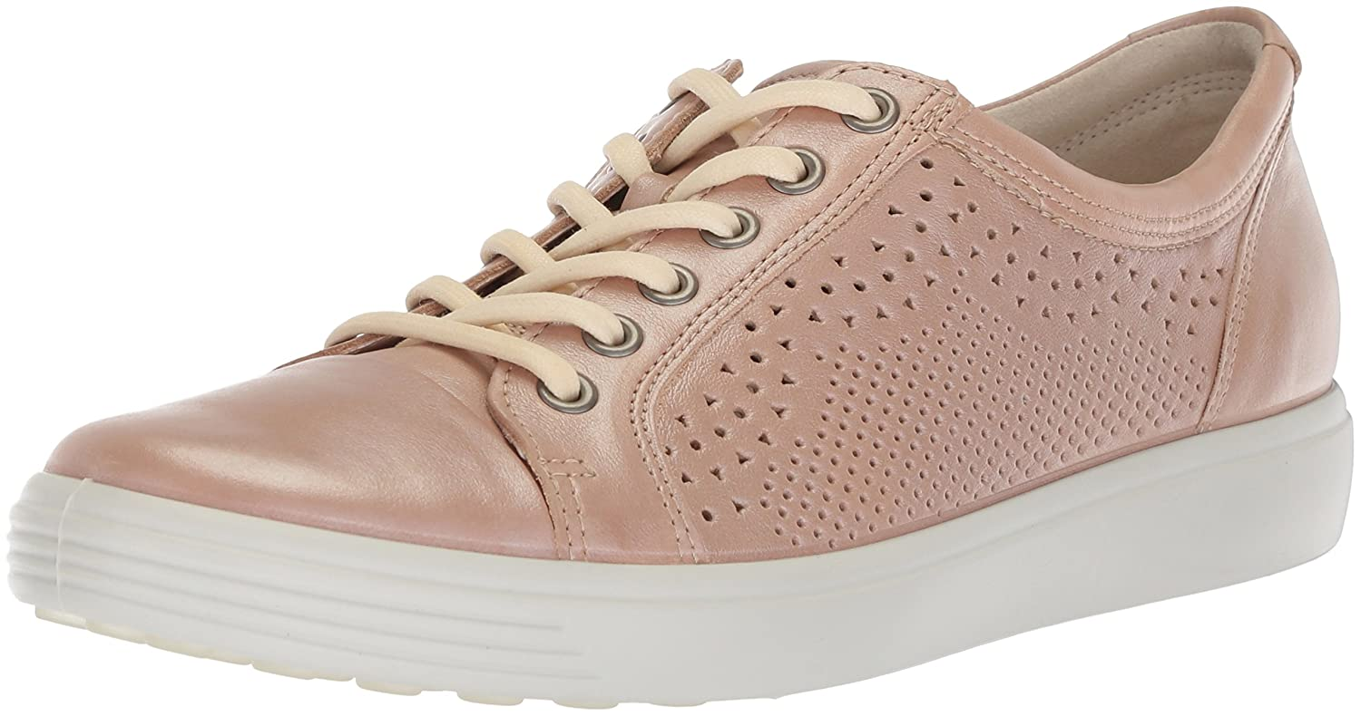 Powder ECCO Womens Soft 7 Lace Cut Leather Fashion Sneakers